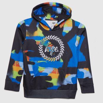 Hype Black and blue Boys Colour Paint Hoodie Boys Tops