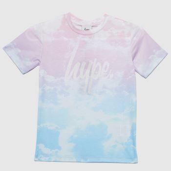 Hype Pale Blue Girls Clouds T-shirt Girls Tops
