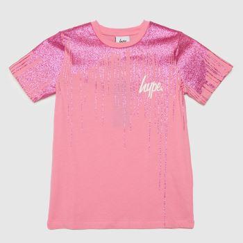 Hype Pink Girls Drip Glitter Girls Tops