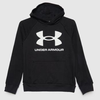 Under Armour Black & White Boys Rival Fleece Hoodie Boys Tops