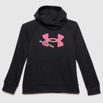 Under Armour Black Girls Rival Fleece Logo Hoodie Girls Tops