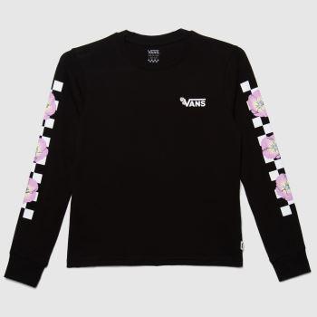 Vans Black & White Girls Bloom Checkz Ls Girls Tops