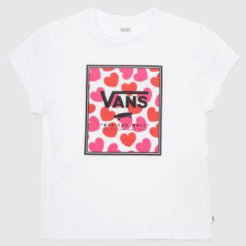 Vans White & Red Girls Boxed Hearts T-shirt Girls Tops