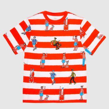Vans White & Red Wheres Waldo Boys Tops