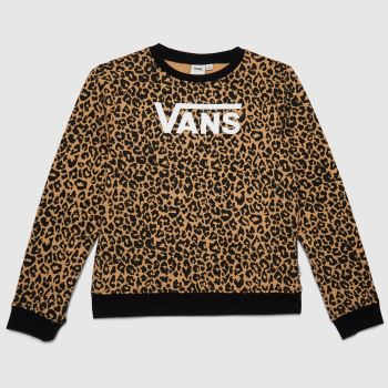 Vans Brown & Black Girls Leopard Crew Girls Tops
