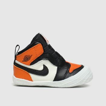 Nike Jordan Black & Orange Jordan 1 Crib Bootie Boys Baby