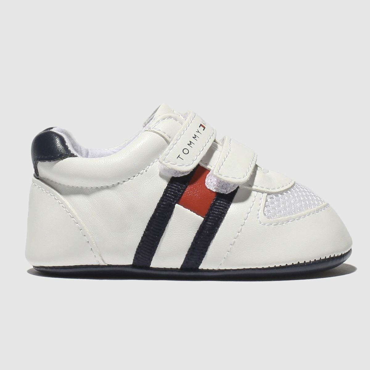 Tommy Hilfiger White & Navy Velcro Classic Crib Shoes Baby