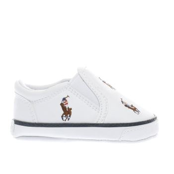 POLO RALPH LAUREN WHITE & NAVY BAL HARBOUR CRIB BOYS BABY TRAINERS