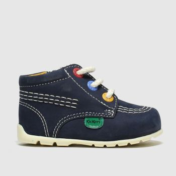 KicKers navy kick hi zip crib shoes baby