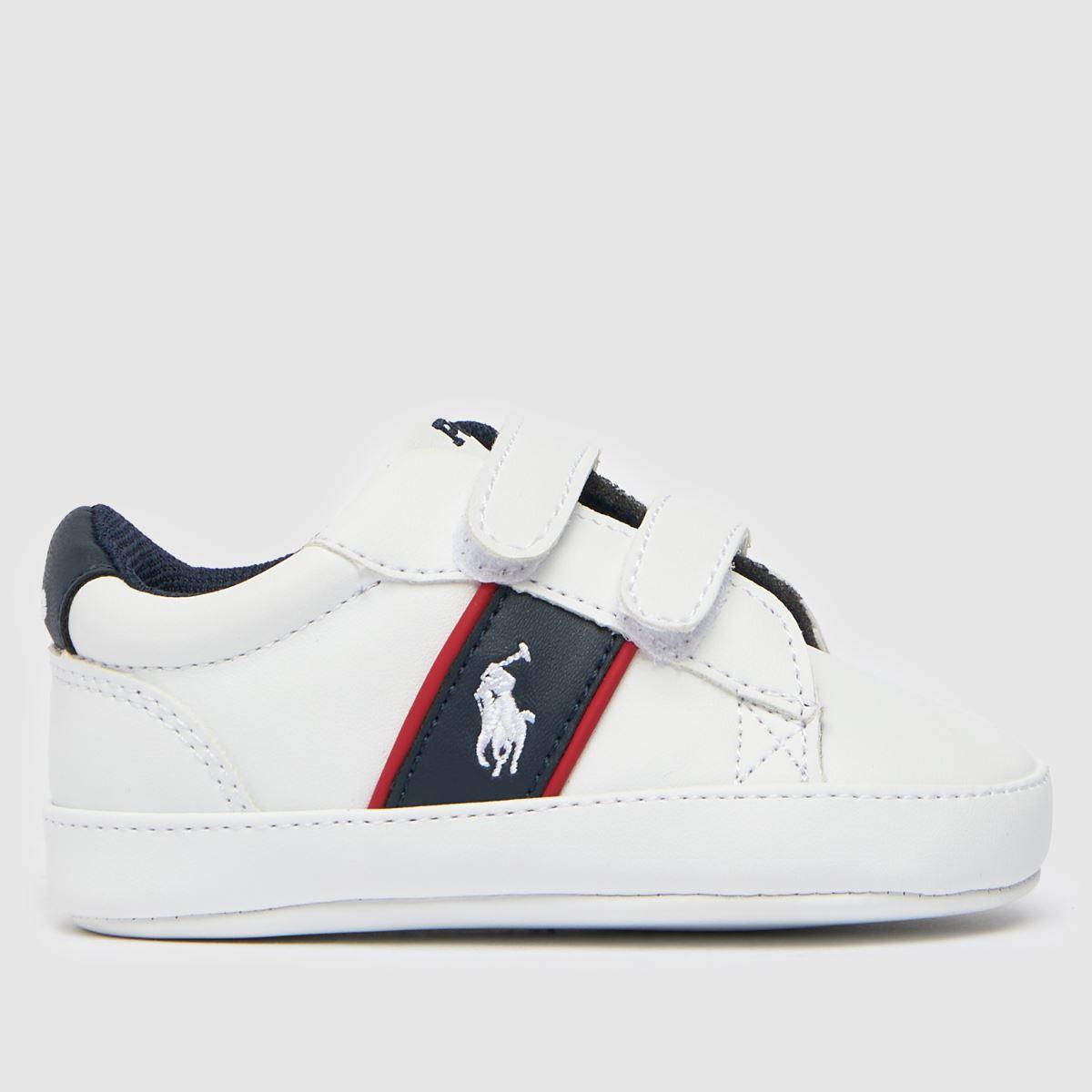 Polo Ralph Lauren White & Navy Oakview Ii Ez Crib Shoes Baby