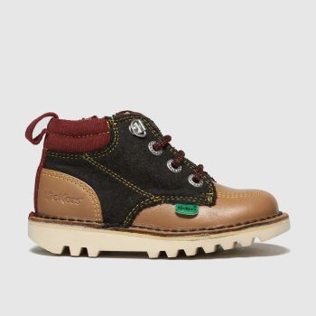 Kickers Brown & Red Kick Hi Winterised c2namevalue::Boys Toddler