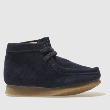 CLARKS ORIGINALS NAVY WALLABEE BOOT BOYS TODDLER BOOTS