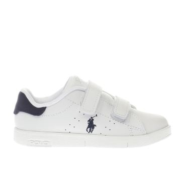 POLO RALPH LAUREN WHITE & NAVY BILTON BOYS TODDLER TRAINERS