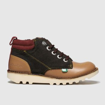 Kickers Brown & Red Kick Hi Winterised Boys Junior