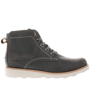CLARKS GREY DEXY TOP BOYS JUNIOR BOOTS