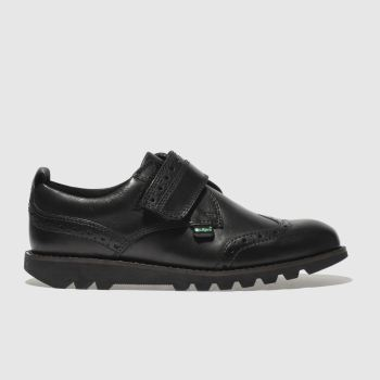 Kickers Black Kymbo Brogue Strap Boys Junior