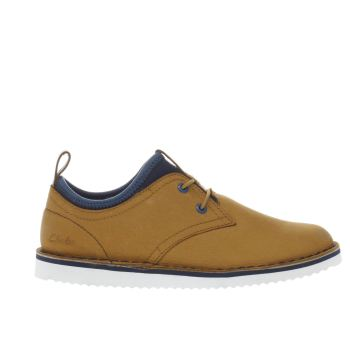 CLARKS TAN OSCAR MAZE BOYS JUNIOR SHOES