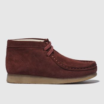 CLARKS ORIGINALS BURGUNDY WALLABEE BOOTS JUNIOR