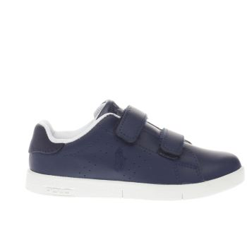 POLO RALPH LAUREN NAVY & WHITE BILTON BOYS JUNIOR TRAINERS