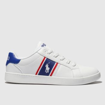 polo ralph lauren white & blue quigley shoes youth