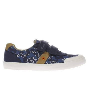 CLARKS NAVY & WHITE COMIC ZONE BOYS YOUTH SHOES