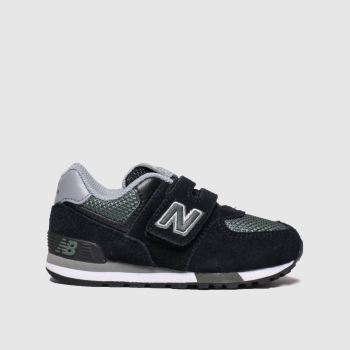 new balance black & green 574 trainers toddler