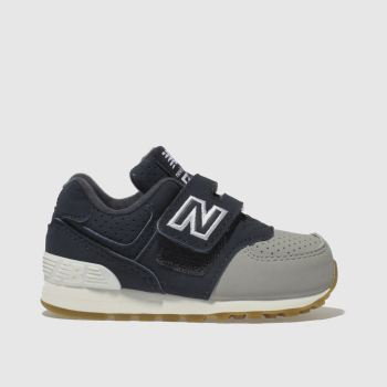 NEW BALANCE NAVY & GREY 574 TRAINERS TODDLER