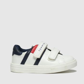 Tommy Hilfiger White & Navy Velcro Sneaker Boys Toddler
