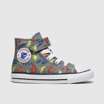 Converse Grey & Green All Star 1v Dino Hi Boys Toddler