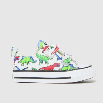 Converse White & Green 2v Lo Dino Boys Toddler