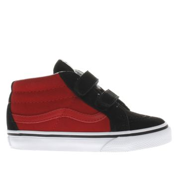 VANS BLACK & RED SK8-MID BOYS TODDLER TRAINERS