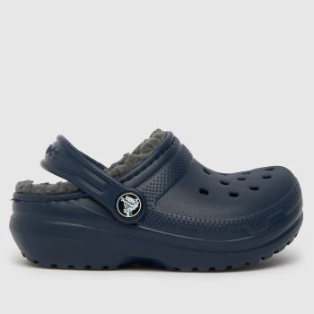 crocs Navy & Grey Classic Lined Clog Boys Toddler