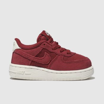 NIKE RED AIR FORCE 1 SUEDE TRAINERS TODDLER