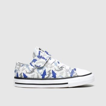 Converse Grey & Navy 1v Lo Shark Bite c2namevalue::Boys Toddler