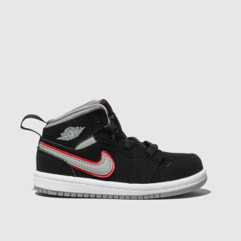 Nike Jordan Black & Grey Air Jordan 1 Mid Boys Toddler
