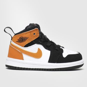Nike Jordan Black & Orange Air Jordan 1 Mid Boys Toddler