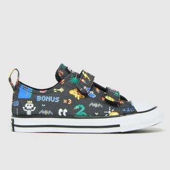 Converse Black and blue 2v Lo Gamer Boys Toddler