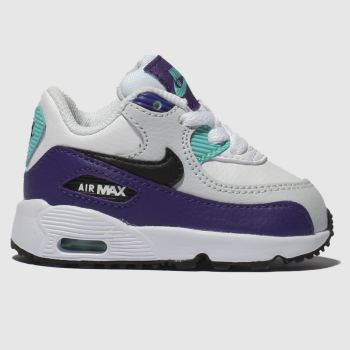 Nike White & Purple Air Max 90 Mesh Boys Toddler