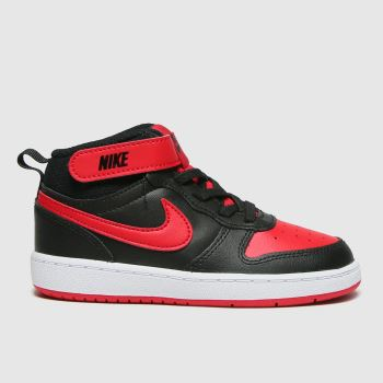Nike Black & Red Court Borough Mid 2 Boys Toddler#