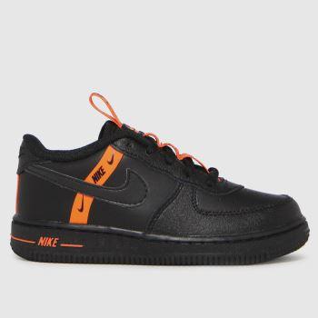 Nike Black & Orange Air Force 1 Lv8 Ksa Boys Toddler