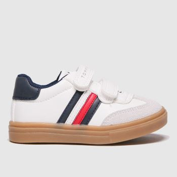 Tommy Hilfiger White & Blue Low Cut Velcro Sneaker Boys Toddler