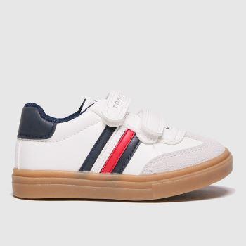 Tommy Hilfiger White & Blue Low Cut Velcro Sneaker Boys Toddler