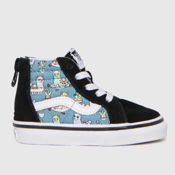 Vans Black and blue Sk8-hi Zip Llamas Boys Toddler