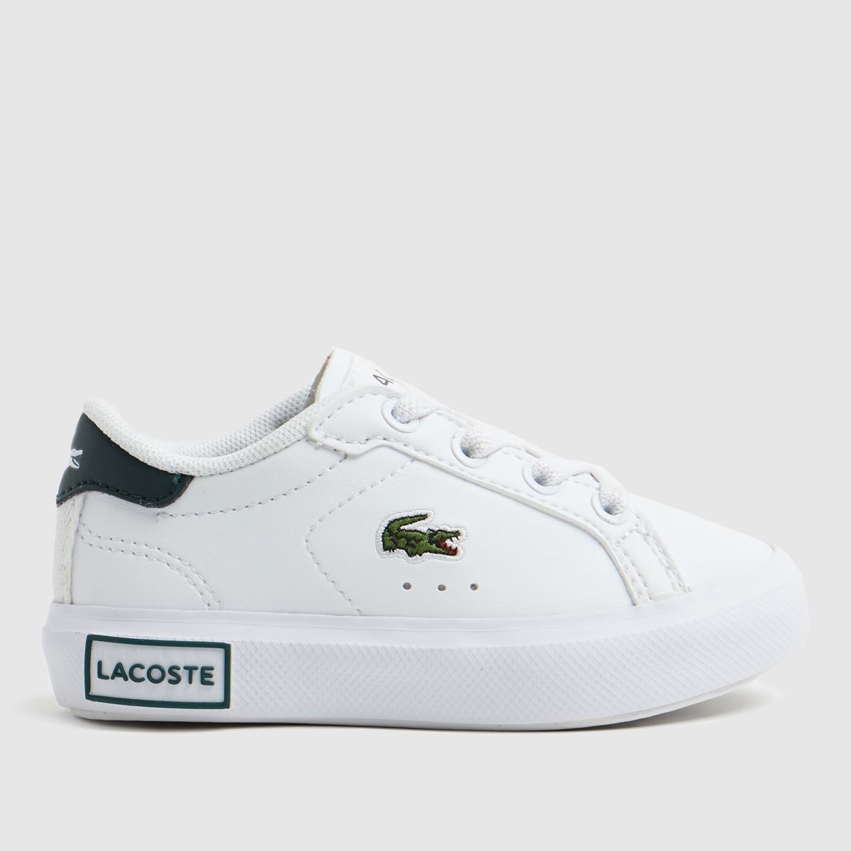 Lacoste White & Green Powercourt Trainers Toddler