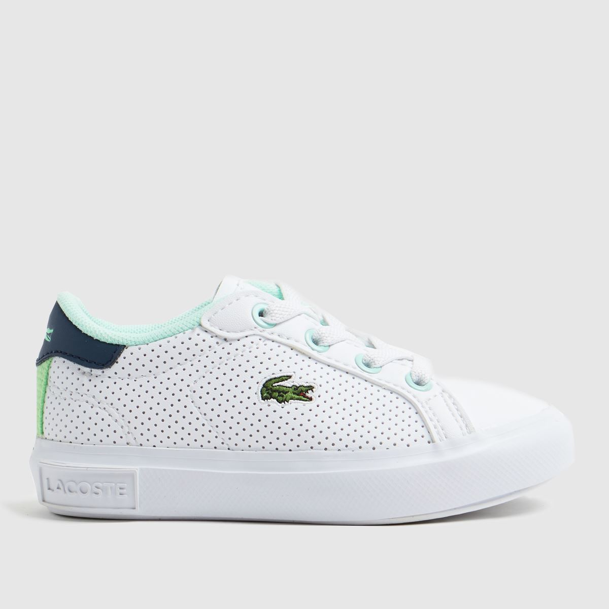 Lacoste White & Navy Powercourt Trainers Toddler