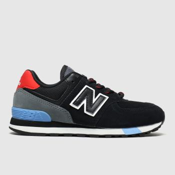 new balance black 574 trainers junior
