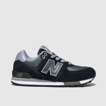 new balance black & green 574 trainers junior