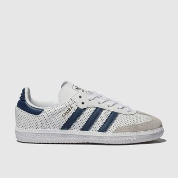 Adidas White & Blue SAMBA OG Boys Junior