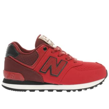 NEW BALANCE RED 574 BOYS JUNIOR TRAINERS