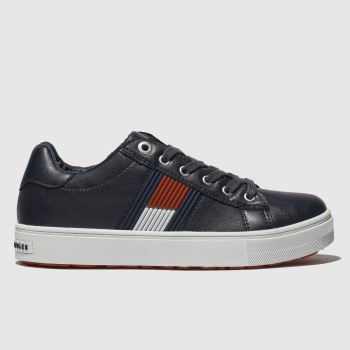 Tommy Hilfiger Navy & White Flag Lace Up Sneaker Boys Junior